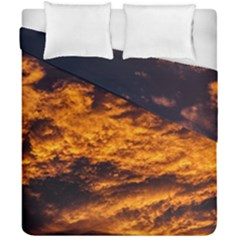 Abstract Orange Black Sunset Clouds Duvet Cover Double Side (california King Size) by Simbadda