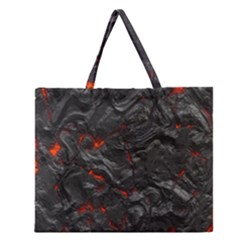 Volcanic Lava Background Effect Zipper Large Tote Bag by Simbadda