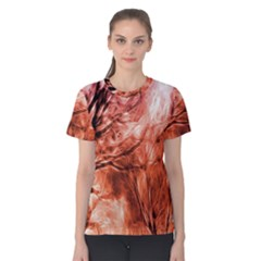 Fire In The Forest Artistic Reproduction Of A Forest Photo Women s Cotton Tee by Simbadda