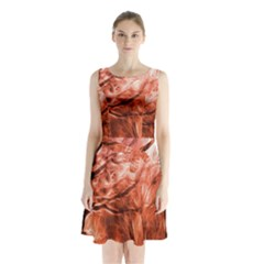 Fire In The Forest Artistic Reproduction Of A Forest Photo Sleeveless Chiffon Waist Tie Dress by Simbadda