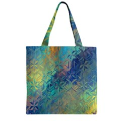Colorful Patterned Glass Texture Background Zipper Grocery Tote Bag by Simbadda