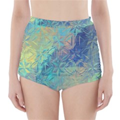 Colorful Patterned Glass Texture Background High Waisted Bikini Bottoms by Simbadda