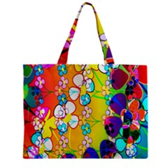 Abstract Flowers Design Zipper Mini Tote Bag by Simbadda