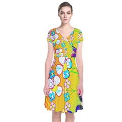 Abstract Flowers Design Short Sleeve Front Wrap Dress by Simbadda