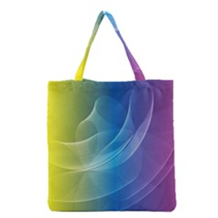Colorful Guilloche Spiral Pattern Background Grocery Tote Bag by Simbadda