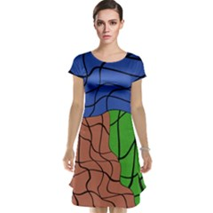 Abstract Art Mixed Colors Cap Sleeve Nightdress
