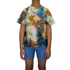 Abstract Color Splash Background Colorful Wallpaper Kids  Short Sleeve Swimwear by Simbadda