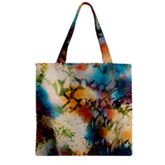 Abstract Color Splash Background Colorful Wallpaper Zipper Grocery Tote Bag by Simbadda