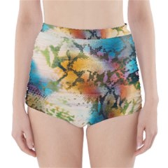 Abstract Color Splash Background Colorful Wallpaper High Waisted Bikini Bottoms by Simbadda
