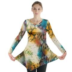 Abstract Color Splash Background Colorful Wallpaper Long Sleeve Tunic  by Simbadda