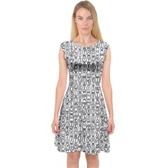 Abstract Knots Background Design Pattern Capsleeve Midi Dress