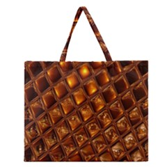 Caramel Honeycomb An Abstract Image Zipper Large Tote Bag by Simbadda