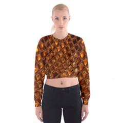 Caramel Honeycomb An Abstract Image Women s Cropped Sweatshirt