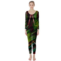 Colorful Background Star Long Sleeve Catsuit