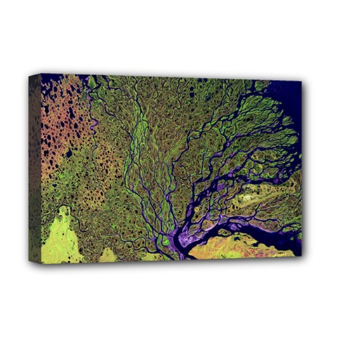 Lena River Delta A Photo Of A Colorful River Delta Taken From A Satellite Deluxe Canvas 18  x 12   by Simbadda