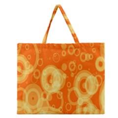 Retro Orange Circle Background Abstract Zipper Large Tote Bag by Nexatart