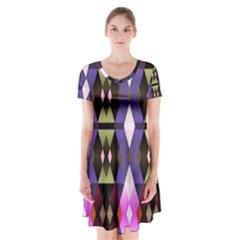 Geometric Abstract Background Art Short Sleeve V Neck Flare Dress by Nexatart