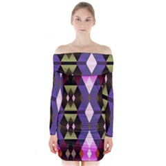 Geometric Abstract Background Art Long Sleeve Off Shoulder Dress by Nexatart