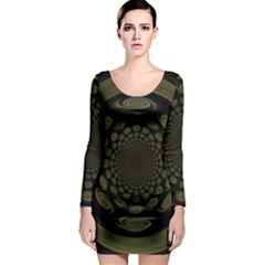 Dark Portal Fractal Esque Background Long Sleeve Bodycon Dress by Nexatart