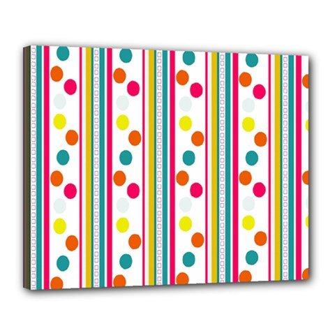 Stripes And Polka Dots Colorful Pattern Wallpaper Background Canvas 20  X 16  by Nexatart
