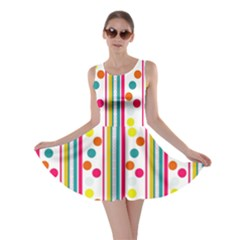 Stripes And Polka Dots Colorful Pattern Wallpaper Background Skater Dress by Nexatart