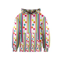 Stripes And Polka Dots Colorful Pattern Wallpaper Background Kids  Pullover Hoodie by Nexatart