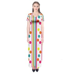 Stripes And Polka Dots Colorful Pattern Wallpaper Background Short Sleeve Maxi Dress by Nexatart