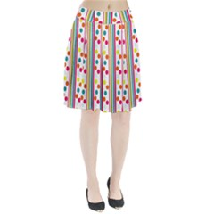 Stripes And Polka Dots Colorful Pattern Wallpaper Background Pleated Skirt by Nexatart
