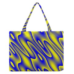 Blue Yellow Wave Abstract Background Medium Zipper Tote Bag by Nexatart