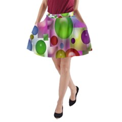 Colored Bubbles Squares Background A Line Pocket Skirt by Nexatart