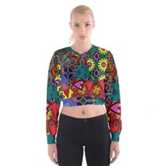 Digitally Created Abstract Patchwork Collage Pattern Women s Cropped Sweatshirt by Nexatart
