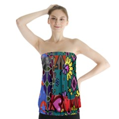 Digitally Created Abstract Patchwork Collage Pattern Strapless Top by Nexatart