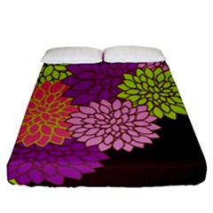Floral Card Template Bright Colorful Dahlia Flowers Pattern Background Fitted Sheet (queen Size) by Nexatart