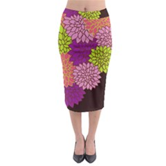 Floral Card Template Bright Colorful Dahlia Flowers Pattern Background Midi Pencil Skirt by Nexatart