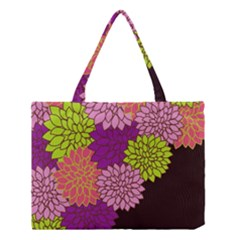 Floral Card Template Bright Colorful Dahlia Flowers Pattern Background Medium Tote Bag by Nexatart