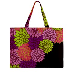Floral Card Template Bright Colorful Dahlia Flowers Pattern Background Medium Zipper Tote Bag by Nexatart