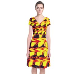 Yellow Seamless Abstract Brick Background Short Sleeve Front Wrap Dress