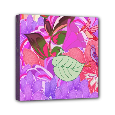 Abstract Design With Hummingbirds Mini Canvas 6  X 6  by Nexatart
