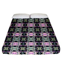 Colorful Pixelation Repeat Pattern Fitted Sheet (queen Size) by Nexatart