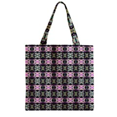 Colorful Pixelation Repeat Pattern Zipper Grocery Tote Bag by Nexatart