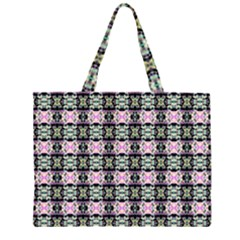 Colorful Pixelation Repeat Pattern Zipper Large Tote Bag by Nexatart