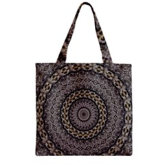 Celestial Pinwheel Of Pattern Texture And Abstract Shapes N Brown Zipper Grocery Tote Bag by Nexatart