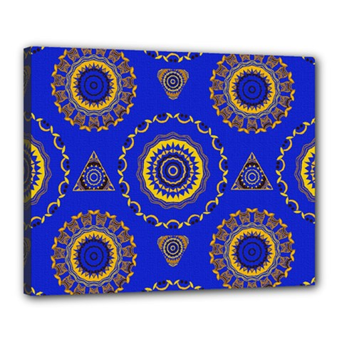 Abstract Mandala Seamless Pattern Canvas 20  X 16  by Nexatart