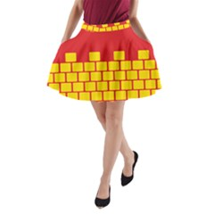 Firewall Bridge Signal Yellow Red A Line Pocket Skirt by Mariart