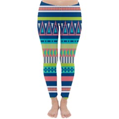 Aztec Triangle Chevron Wave Plaid Circle Color Rainbow Classic Winter Leggings by Mariart