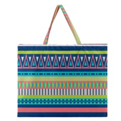 Aztec Triangle Chevron Wave Plaid Circle Color Rainbow Zipper Large Tote Bag by Mariart