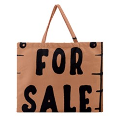 For Sale Sign Black Brown Zipper Large Tote Bag by Mariart