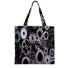 Gears Technology Steel Mechanical Chain Iron Zipper Grocery Tote Bag by Mariart