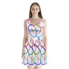 Abstract Background With Interlocking Oval Shapes Split Back Mini Dress