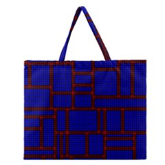 Line Plaid Red Blue Zipper Large Tote Bag by Mariart